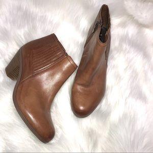 Loft Tan Leather Block Heel Ankle Bootie Sz 7.5